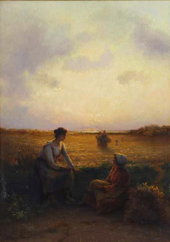 Conversation au coucher du soleil par Georges Paul François Laurent Laugée